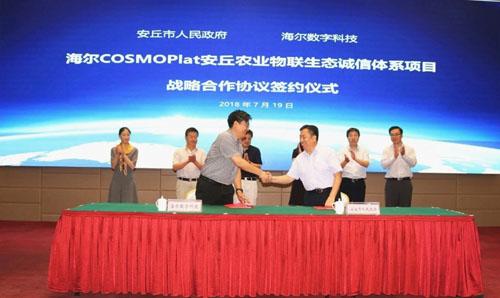 海尔COSMOPlat与安丘市签署农业物联生态品牌平台战略合作