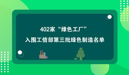 """402家""""绿色工厂""""入围工信部第三批绿色制造名单"""